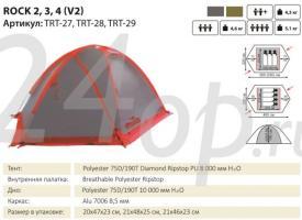 Tramp палатка Rock 2 (V2) серый TRT-27