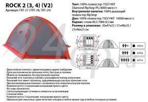 Tramp палатка Rock 4 (V2) серый TRT-29