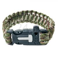 КуитьTramp браслет выживальщика (свисток, огниво/2 метра паракорда) (камуфляж) TRA-232-k